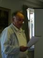 Vidusanglijas draudzes ziņojumu lasa draudzes priekšnieks Arvīds Piķelis